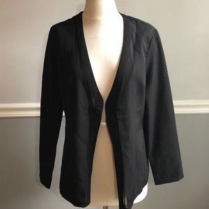 Makers Of Dreams Black Open Front Mesh-Trim Blazer